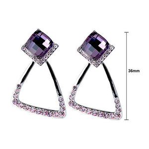Elegant Earrings with Purple Crystal Glass and Purple Austrian Element Crystals