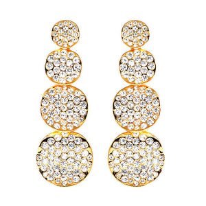 Elegant Golden Earrings with Silver Austrian Element Crystals