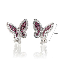Load image into Gallery viewer, Elegant Butterfly Earring with Purple and Silver Austrian Element Crystals (Non Piercing Earrings)