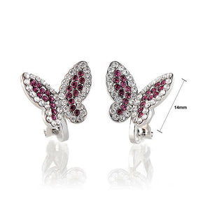 Elegant Butterfly Earring with Purple and Silver Austrian Element Crystals (Non Piercing Earrings)