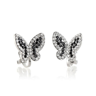 Elegant Butterfly Earring with Black and Silver Austrian Element Crystals (Non Piercing Earrings)