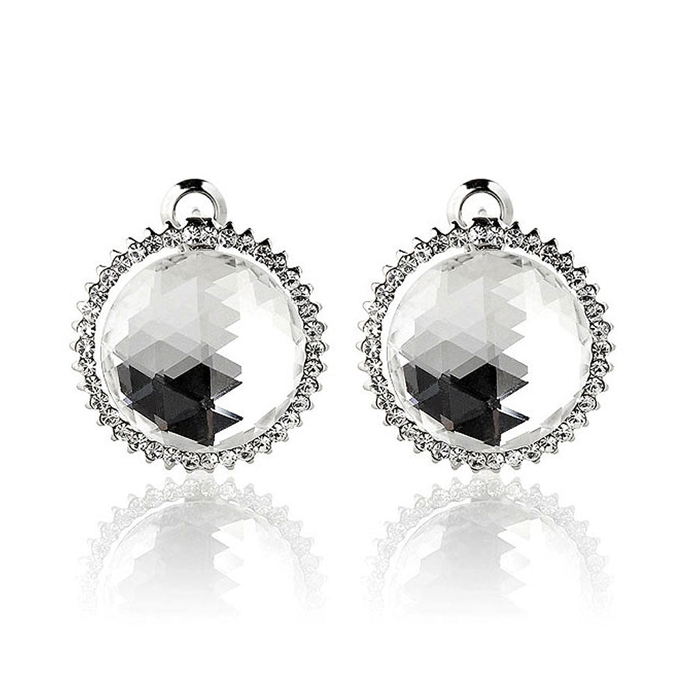 Elegant Earrings with Silver Crystal Glass and Silver Austrian Element Crystal