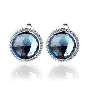 Elegant Earrings with Blue Crystal Glass and Silver Austrian Element Crystal