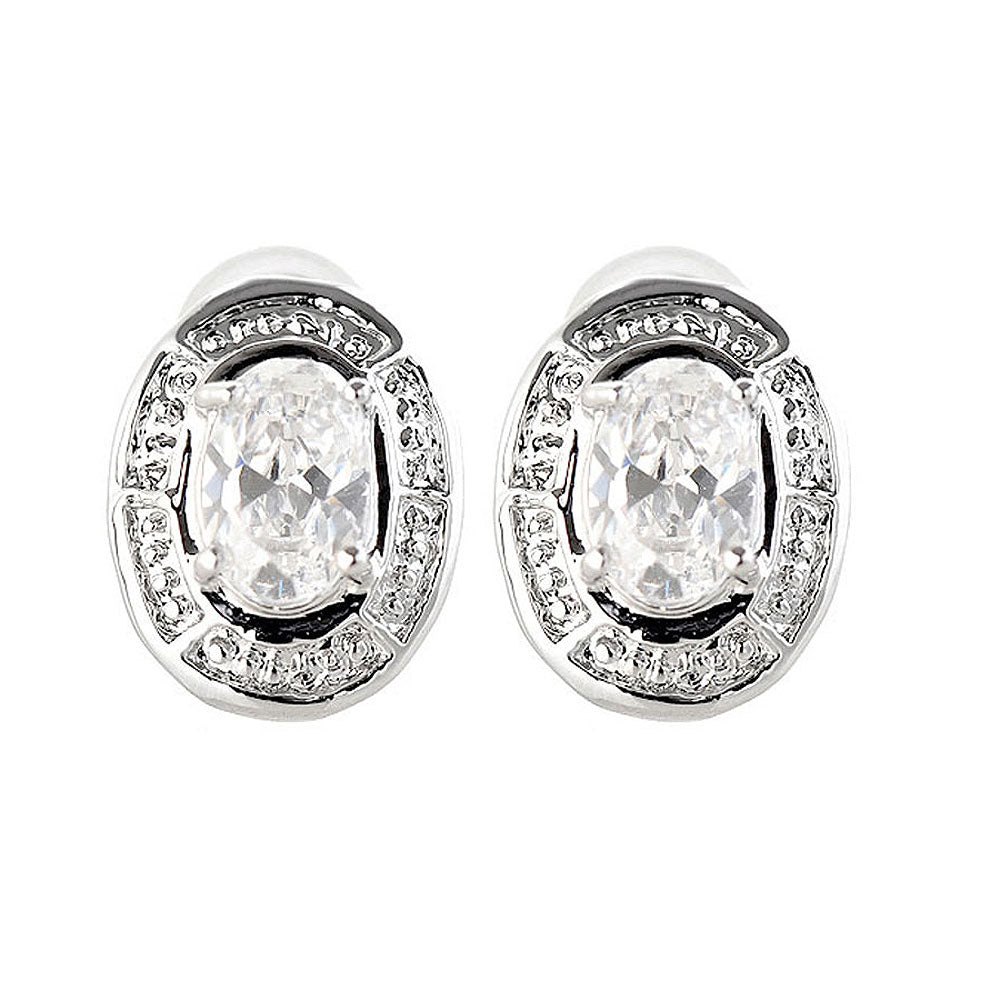 Elegant Earrings with Silver CZ Crystals