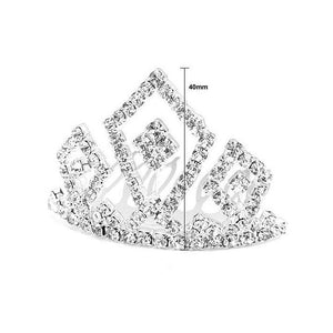 Glistering Crown Hair Pin with Silver Austrian Element Crystals