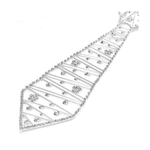 Glistening Flowery Tie-like Necklace with Silver Austrian Element Crystals