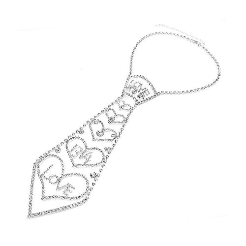 Glistening Love and Hearts Tie-like Necklace with Silver Austrian Element Crystals