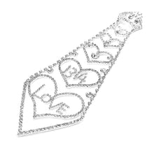 Load image into Gallery viewer, Glistening Love and Hearts Tie-like Necklace with Silver Austrian Element Crystals