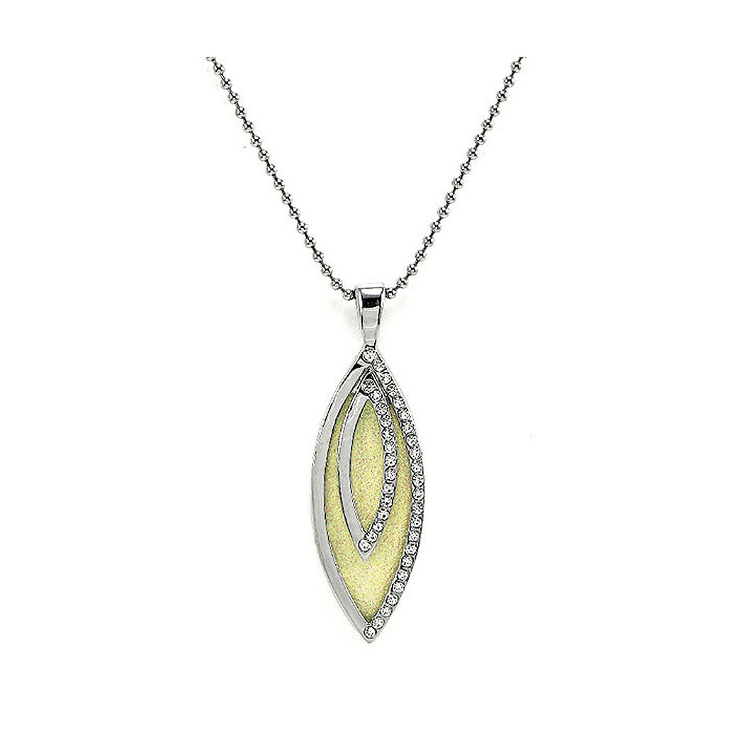Glistering Olivary Pendant with Silver Austrian Element Crystals and Necklace