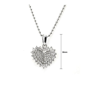 Glistering Joyful Heart Pendant with Silver Austrian Element Crystals and Necklace