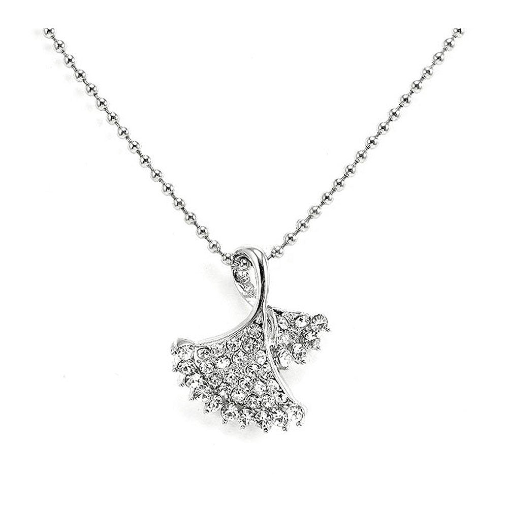 Glistering Silvery Leaves Pendant with Silver Austrian Element Crystals and Necklace