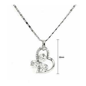 Glistering Joyful Heart & Flower Pendant with Silver Austrian Element Crystals and CZ and Necklace