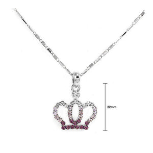 Glistering Crown Pendant with Purple and Silver Austrian Element Crystals and Necklace