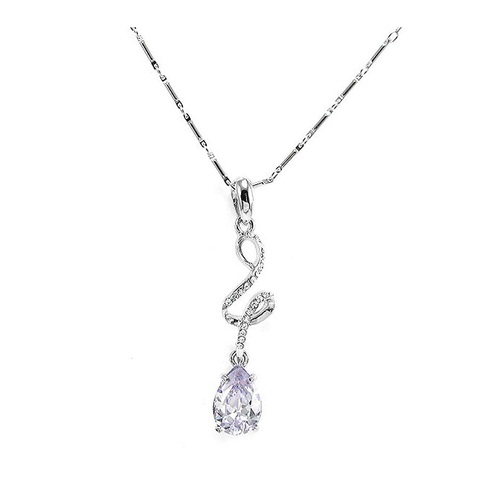 Glistering Water Drop Pendant with Silver Austrian Element Crystals and Purple CZ and Necklace