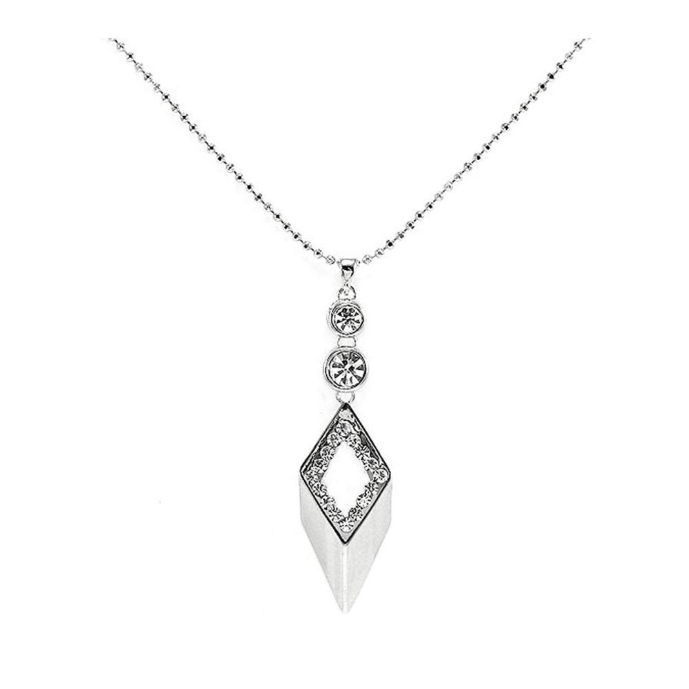 Glistering Diamond-shape Pendant with Silver Austrian Element Crystals and CZ and Necklace