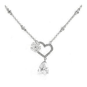 Glistering Joyful Heart & Flower Necklace with Silver Austrian Element Crystals and CZ