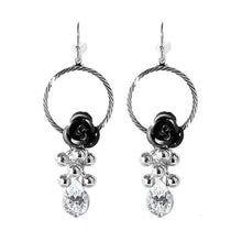Load image into Gallery viewer, Elegant Black Rose Earrings with Crystals Glass