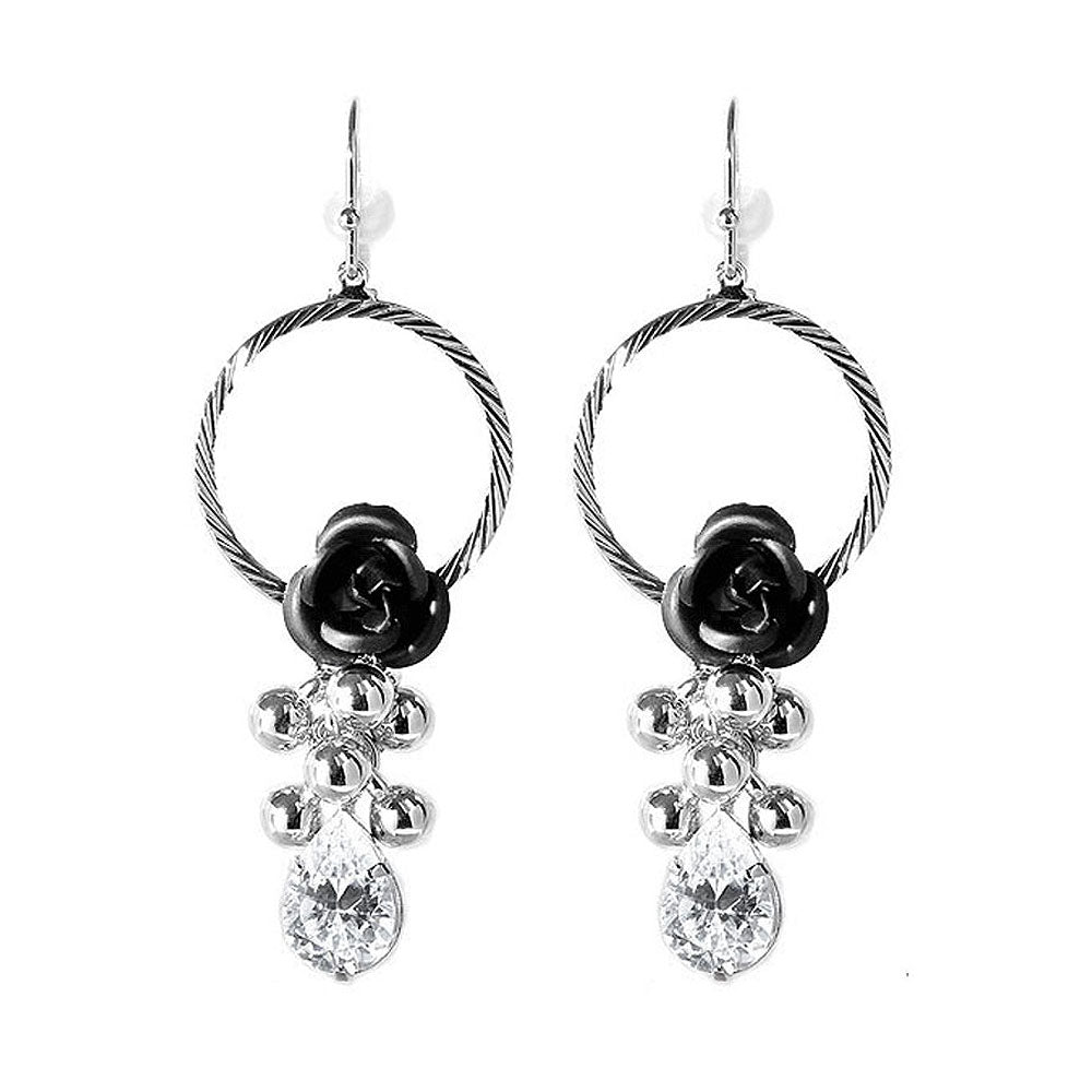 Elegant Black Rose Earrings with Crystals Glass