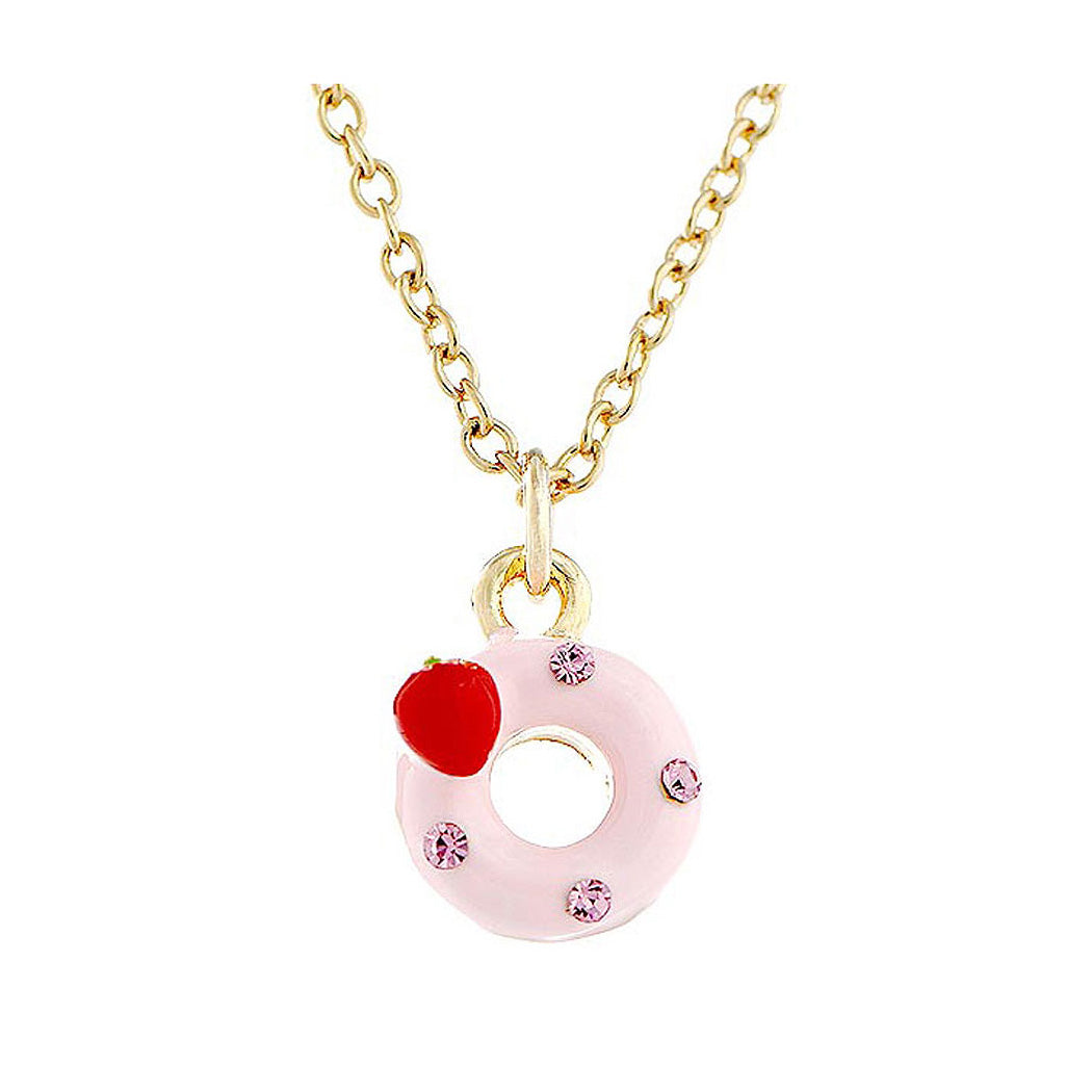 Glistering Strawberry Donut Pendant with Pink CZ and Necklace