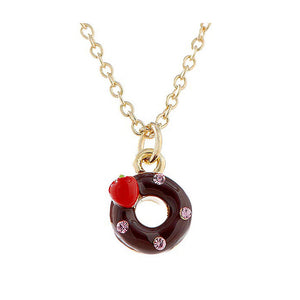 Glistering Chocolate Donut Pendant with Pink CZ and Necklace