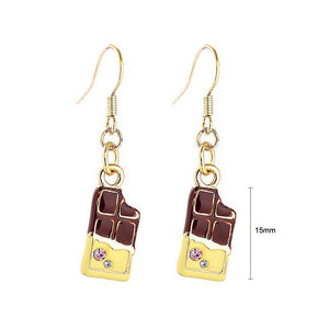 Glistering Chocolate Bar Earrings with Pink and Silver CZ