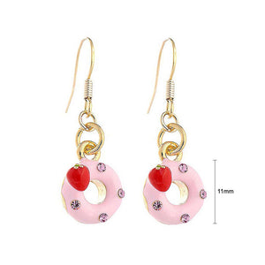 Glistering Strawberry Donut Earrings with Pink CZ