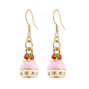 Glistering Strawberry Cake Earrings with Pink CZ