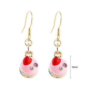 Glistering Strawberry Cake Earrings with Pink and Silver CZ