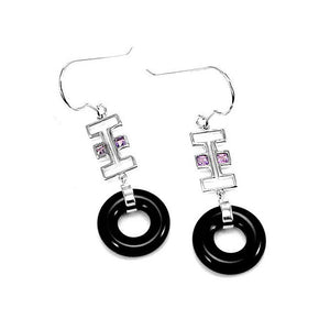 Earrings in Silver 925 with Black Agate and Amethyst