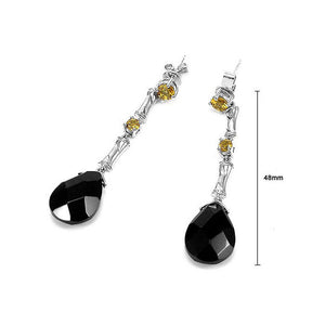 Earrings in Silver 925 with Citrine and Onyx