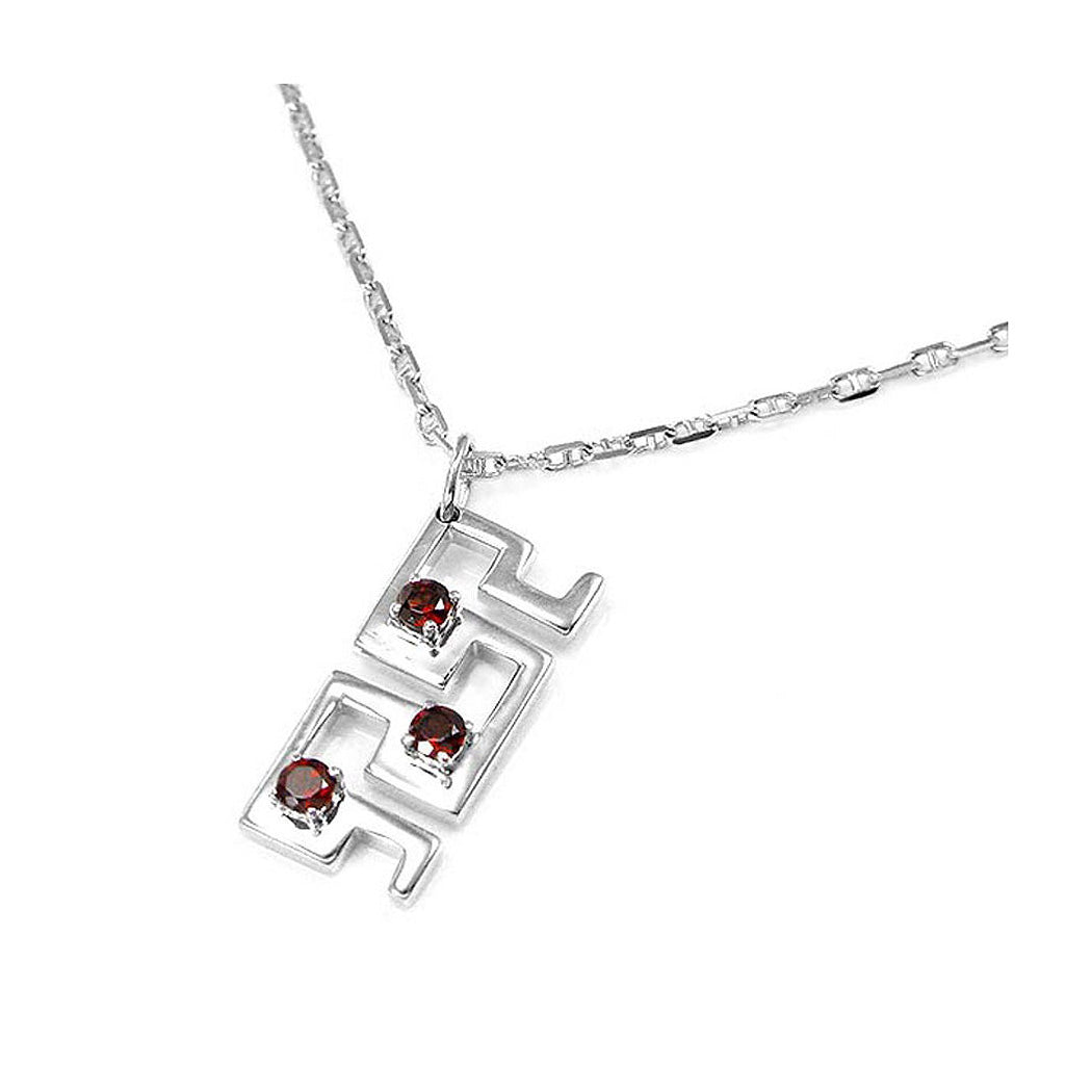 Pendant in Silver 925 with Garnet with Silver Chain