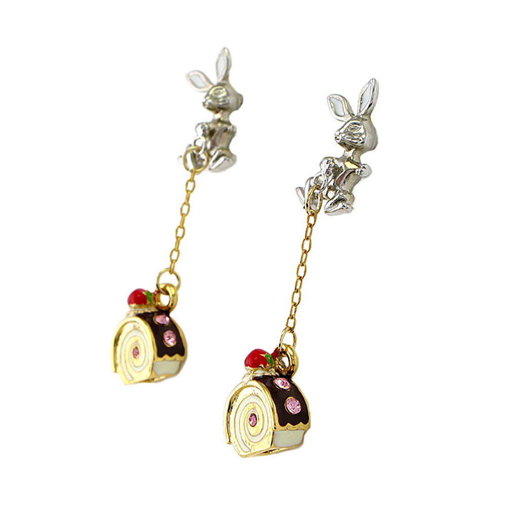 Glistering Rabbit and Roll Cake Earrings with Pink CZ