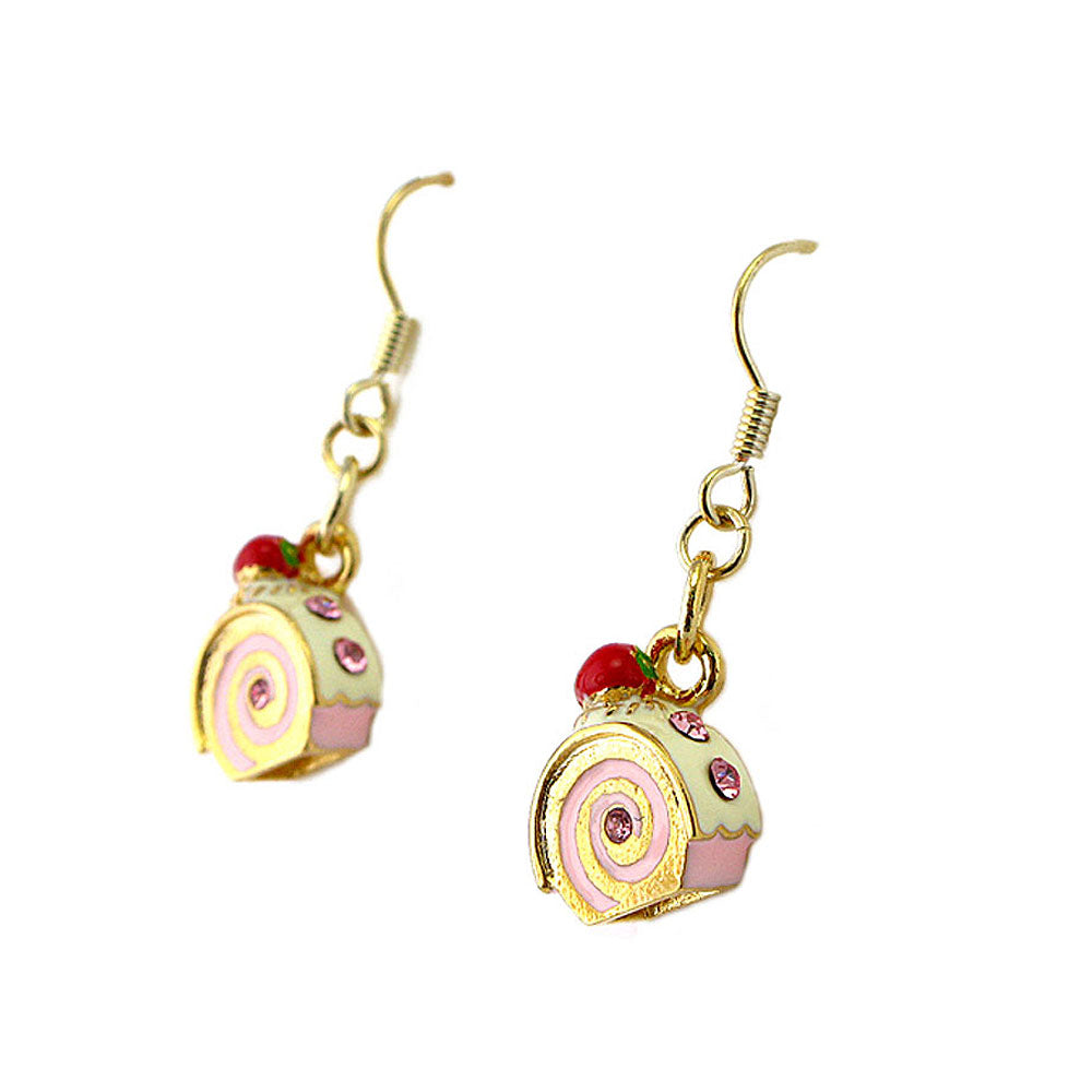 Glistering Roll Cake Earrings with Pink CZ