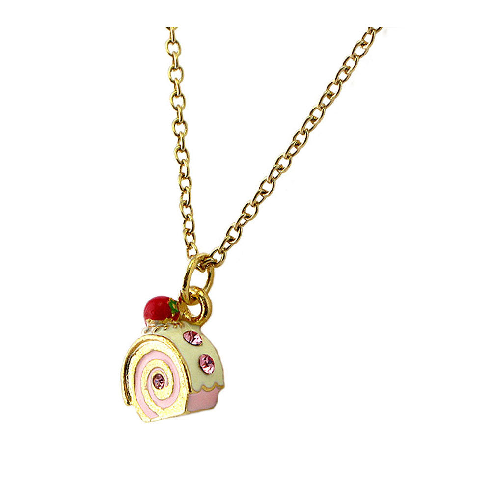 Glistering Roll Cake Pendant with Pink CZ and Necklace