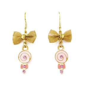 Glistering Yellow Lollypop Earrings with Ribbon and Pink CZ