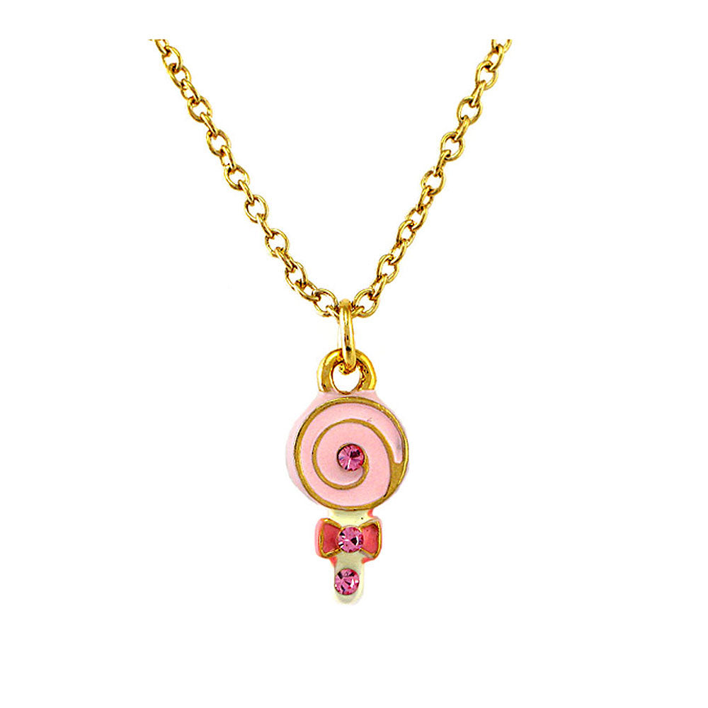 Glistering Pink Lollypop Pendant with Pink CZ and Necklace