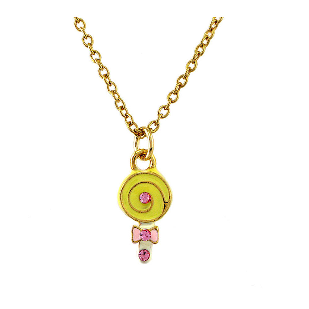 Glistering Yellow Lollypop Pendant with Pink CZ and Necklace