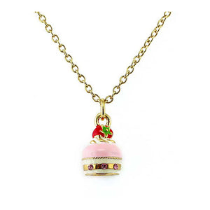 Glistering Strawberry Cake Pendant with Pink CZ and Necklace