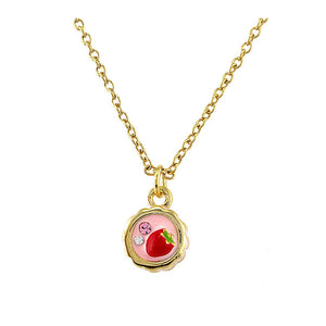Glistering Strawberry Cake Pendant with Pink and Silver CZ and Necklace