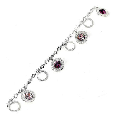 Charming Anklet with Purple Austrian Element Crystal