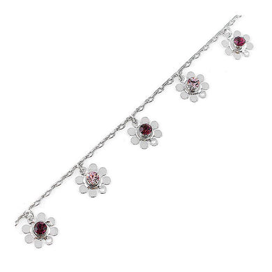 Charming Flower Anklet with Purple Austrian Element Crystal