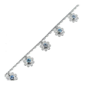 Charming Flower Anklet with Blue Austrian Element Crystal