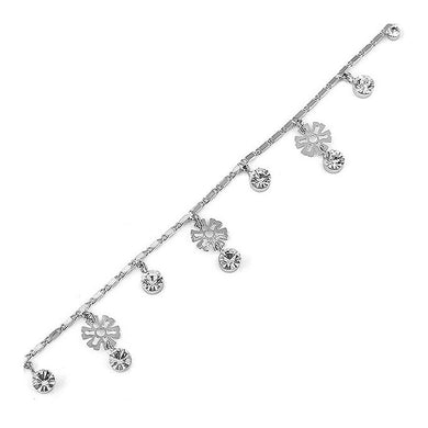 Charming Flower Anklet with Silver Austrian Element Crystal