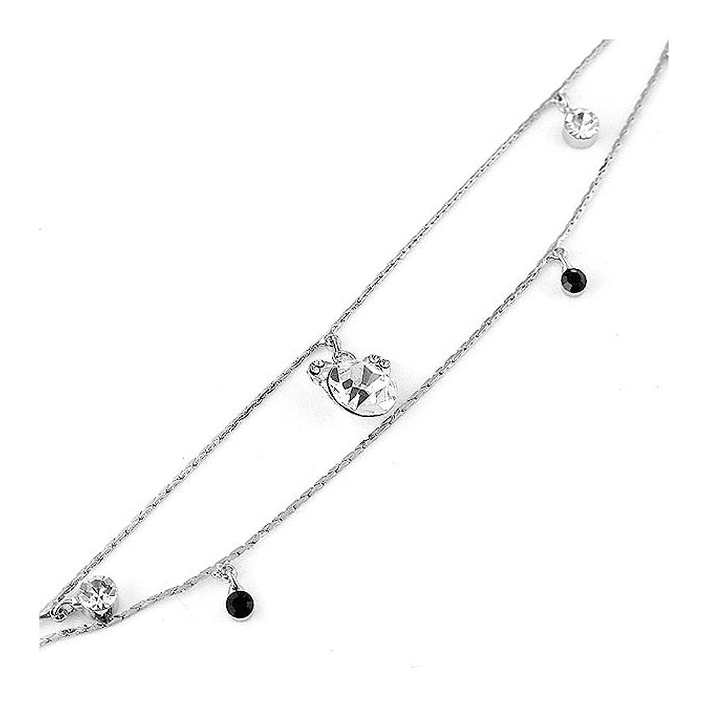 Gracious Anklet with Silver CZ, Black and Silver Austrian Element Crystal