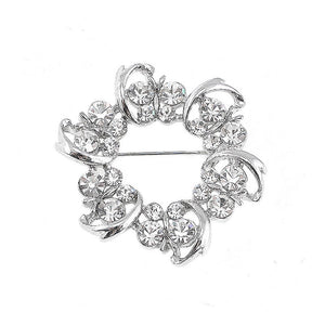 Dazzling Butterfly Garland Brooch with Silver Austrian Element Crystal