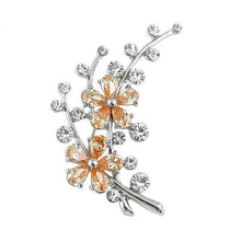 Load image into Gallery viewer, Dazzling Flower Brooch with Silver Austrian Element Crystal and Orange CZ