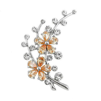 Dazzling Flower Brooch with Silver Austrian Element Crystal and Orange CZ