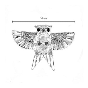Dazzling Owl Brooch with Silver Austrian Element Crystal and CZ