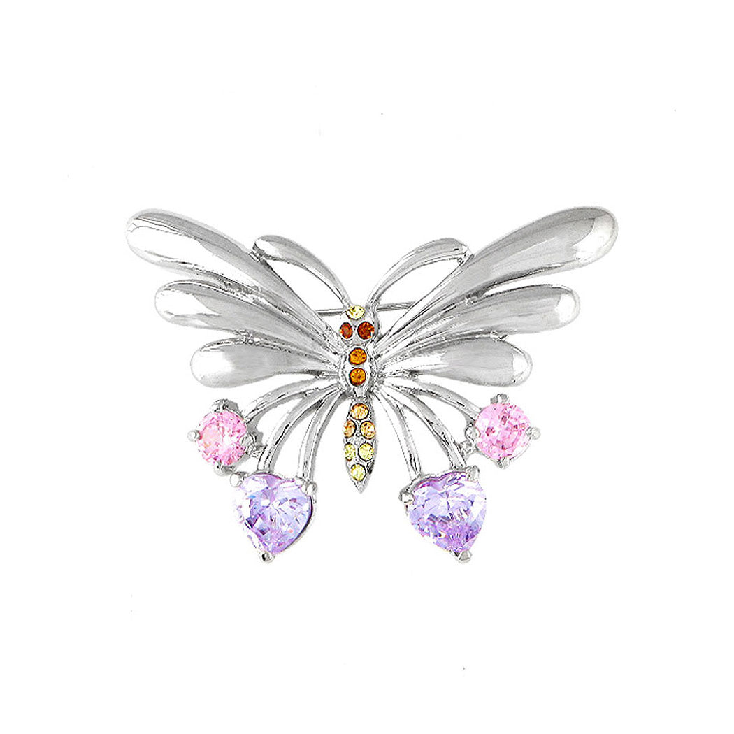 Dazzling Butterfly Brooch with Multi-colour Austrian Element Crystal and CZ