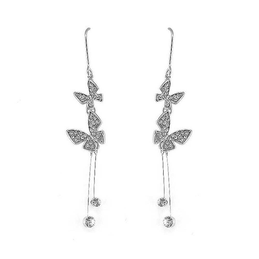 Dazzling Butterfly Earrings with Silver Austrian Element Crystal